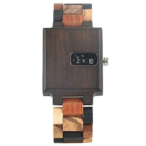 FMXKSW Wooden watch, Wood Case Men's Watches Creative Turntable Display...