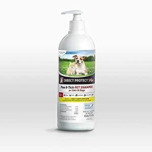Direct Protect Plus Flea & Tick Shampoo, for Dogs & Cats, Sensitive Skin Formula with Soothing Aloe, Lanolin, Coconut Extract, and Oatmeal, 24 Ounces