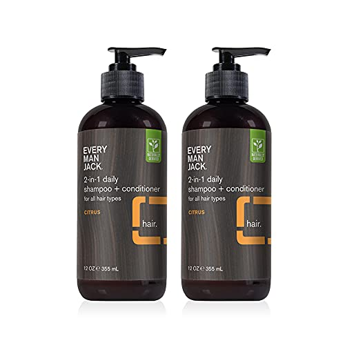Every Man Jack 2 in 1 Daily Shampoo + Conditioner Twin Pack - Citrus   Naturally Derived, Parabens-free, Dye-free, Certified Cruelty Free, 50% PCR Bottles   2 Pump Top Bottles