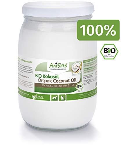 AniForte Bio Kokosöl für Hunde und Katzen 1 Liter - Erste Kaltpressung, Nativ, Unraffiniert, Hoher Laurinsäure-Gehalt, Natürlicher Zecken-Schutz, Pflege für Fell, Pfote und Haut, biologischer Anbau