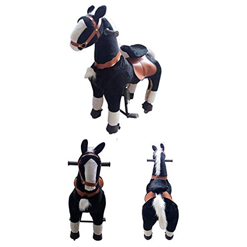 MMRLY Rocking Horse Ride on Toys, Mechanical Horse,Ride on Horse Walking Animal Plushtoy with Wheeled No Battery No Electricity Action Pony