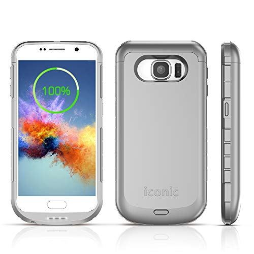 S6 Battery Case, ICONIC 4200mAh S6 Charger Case Portable External Charging Battery Pack for Samsung Galaxy S6 (5.1' Silver)