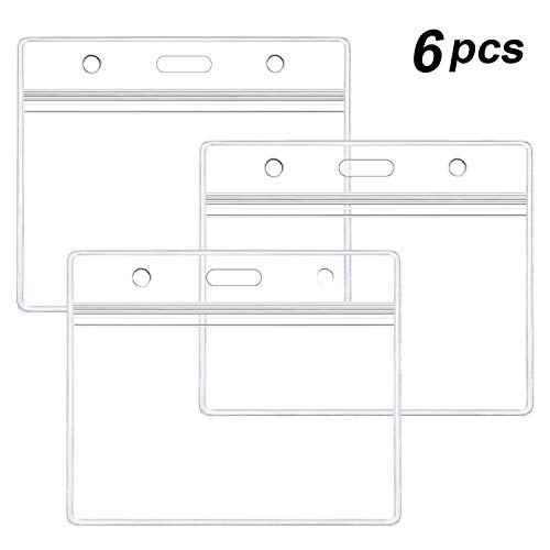 6 Pcs Extra Thick ID Card Badge Holder, Horizontal Clear PVC Card Holder with Waterproof Resealable Zip Type