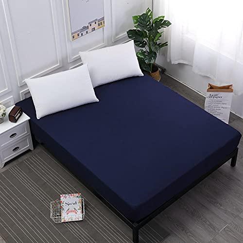 DSman Funda de colchón Anti chinches, Transpirable, Sábana Impermeable a Prueba de orina Pure Color-Navy_120cmX200cmX30cm
