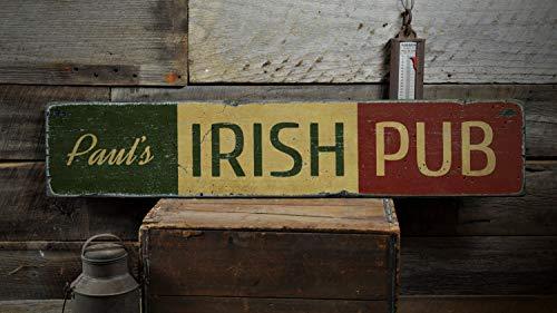 Ced454sy Letrero de madera con la bandera de Irlanda, regalo personalizado para el propietario del pub, decoración de bar irlandés personalizada – Cartel de madera vintage impreso rústico
