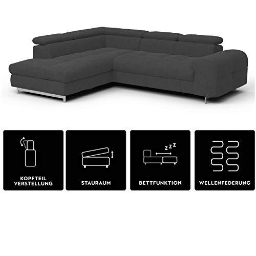 Mivano Ecksofa Chef / L-Sofa mit Schlaffunktion, Bettkasten und verstellbaren Kopfstützen / 262 x 72 x 206 / Anthrazit