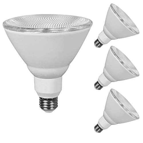 JULLISON 4 Packs PAR38 LED Bulb, 120V/13W/980Lumens/40 Degrees Beam, 90W Equivalent, 5000K Daylight White, CRI80, Dimmable, Glass Lens, Outdoor Flood, E26 Base, UL