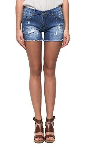 Blue Jeans Shorts voor dames, kort gerfeld used effect met scheuren en klinknagels, stretch