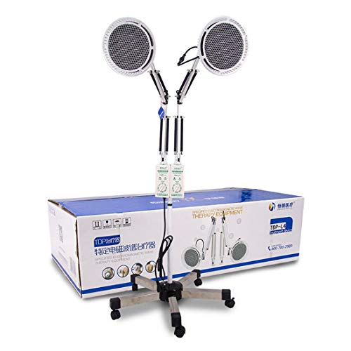 Wensa TDP Hitze Lampe Doppelt Kopf, Physisch Elektromagnetisch Mineral Therapie Gerät zum Schmerzen Linderung Einstellbar für Schmerzlinderung, Muskel, Relaxing Body Treatment-250W