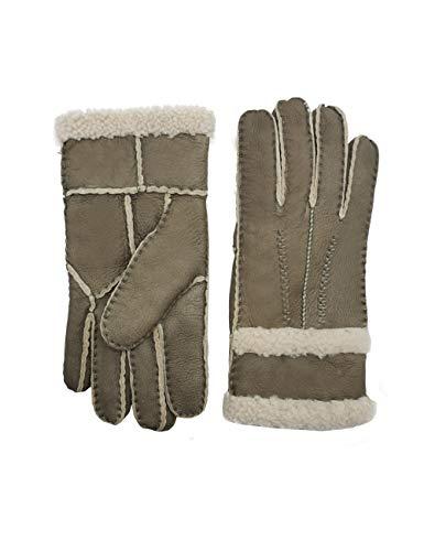YISEVEN Damen Shearling Lederhandschuhe mit Warm Gefüttert Winter Lammfell Leder Autofahrer Handschuhe, Grau L