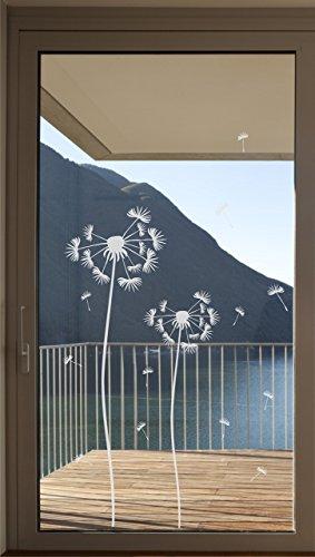 Pusteblume als Aufkleber Glastür Fensterfolie Glasdekor Tür Folie Bad Badezimmer Terassentür Balkontür Zimmertür Fenster Window wasserfest selbstklebende Folie