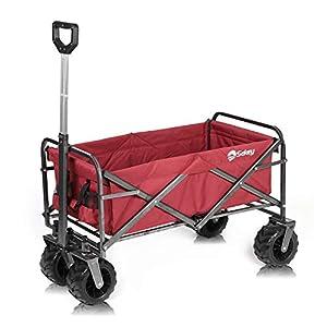 Sekey Faltbarer Bollerwagen Faltwagen Handwagen Außenschubkarre Strandwagen Folding Wagon Outdoor Gartenanhänger Transportwagen für alle Gelände geeignet, Rot