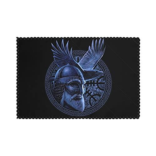 Juego de 6 manteles individuales para mesa de comedor, diseño de God Odin con cuervo con gráfico en el anillo Celtic Viking Warrior Bárbaro, lavables resistentes al calor (30,5 x 45,7 cm)