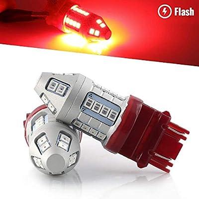 Syneticusa 3157 Red Flashing Strobe Blinking Rear Alert Safety Brake Tail Stop High Power LED Light Bulbs