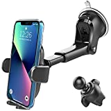 3-in-1 Suction Cup Phone Holder Windshield/Dashboard/Air Vent, Oqtiq Dashboard & Windshield Suction Cup Car Phone Mount with Strong Sticky Gel Pad, Compatible with iPhone, Samsung & Other Cellphone