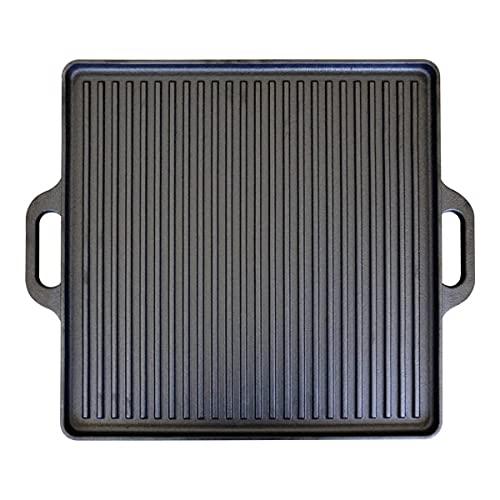 CAGO Wendeplatte aus Gusseisen   Plancha für den Grill 40 x 40 cm beidseitig verwendbar