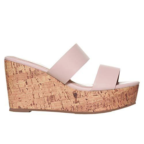 Rohb by Joyce Azria Casablanca High Heel Platform Wedge Slip On Sandal (Nude) Size 8.5