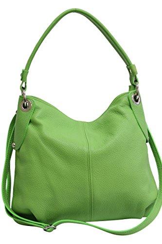 AMBRA Moda Damen echt Ledertasche Handtasche Schultertasche Beutel Shopper Umhängtasche GL012 (Apfelgrün)