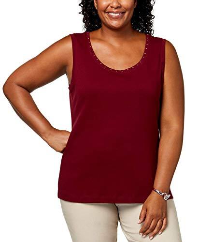 Karen Scott Womens Plus-Size Studded Tank Top (Merlot, 1X)