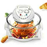 12L Air Fryer, Oil-less Air Fryer Infrared Convection, Halogen Oven Countertop, Cooking, Stainless Steel, 110V, Prepare Quick Healthy Meals, for French Fries & Chips (White) USA STOCK