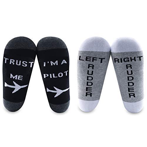 MBMSO Pilot Gifts Trust Me I'm a Pilot Socks Aviation Gifts Left Rudder Right Rudder Socks Aviation Themed Gifts (2 Pairs Pilot Socks)