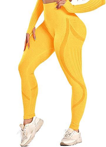 INSTINNCT Damen Yoga Lange Leggings Slim Fit Fitnesshose Sporthosen #3 Laser Stil - Gelb L
