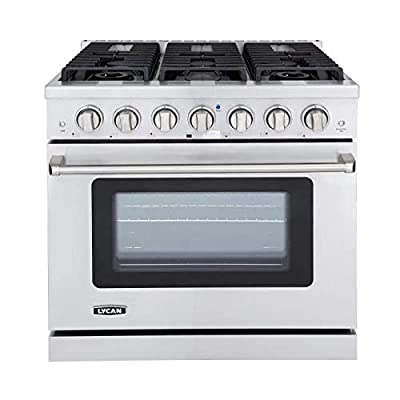 """LYCAN 99AKG3620 Heavy Duty Freestanding Stainless Steel 36"""" Professional Style Gas Range with 6 Burners and Blue Porcelain Oven Interior"""