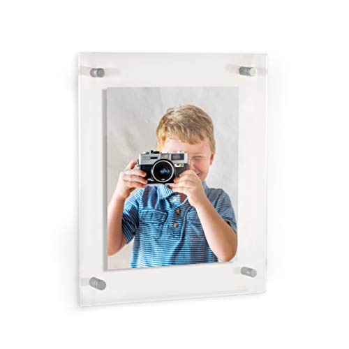 ArtToFrames Floating Acrylic Frame for Pictures Up To 24x36 inches (Full Frame is 28x40) with Muted Chrome Standoff Wall Mount Hardware, Acrylic-109-24x36-80