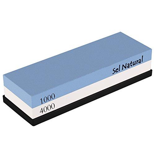 Sel Natural Piedra de afilar con doble cara al agua Grano 1000 / 4000 tipo Japonesa. Afilador Navaja, cuchillo, tijeras