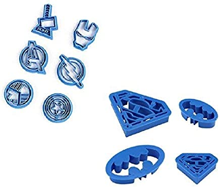 Cookie Creations Superman, Batman, Thor, Iron Man, The Flash, Captain America, Shield, Avengers Superhero Cookie Stamp Fondant Cutter Set (10 Pack)