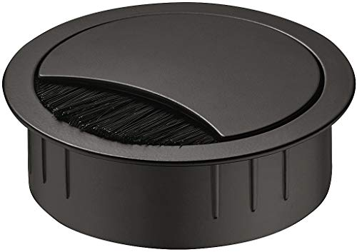 Gedotec Kabeldurchführung Schreibtisch Kabeldurchlass schwarz - SAMOS | Metall Kabelführung zum Eindrücken | Kabeldose Bohr-Ø 60 mm | 1 Stück - Stahl Kabelausgang rund für Büromöbel, Tisch, Wohnmobil