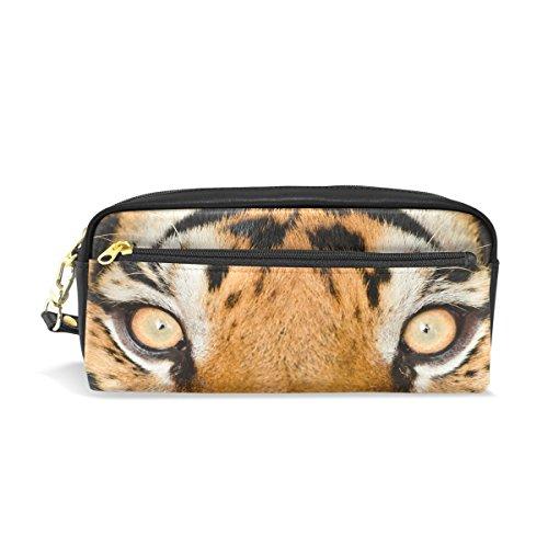 Trousse, œil de tigre Imprimé Voyage Maquillage Pouch Grande capacité étanche Cuir 2 compartiments pour filles garçons femmes Hommes