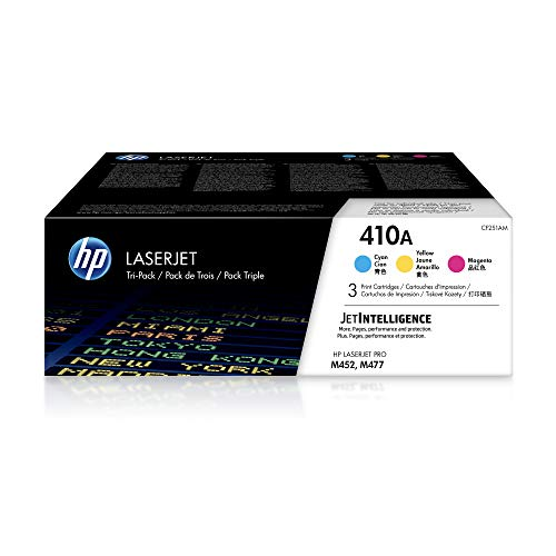 HP 410A | CF411A, CF412A, CF413A | 3 Toner Cartridges | Cyan, Yellow, Magenta | Works with HP Color LaserJet Pro M452 Series, M377dw, MFP 477 Series