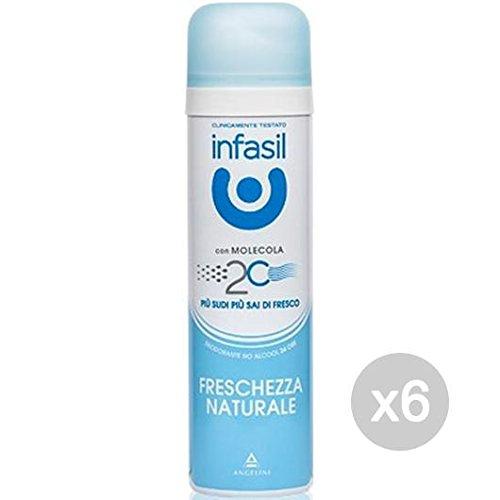 Infasil - Juego de 6 desodorantes en spray frescura natural, 150 ml, cuidado e higiene del cuerpo