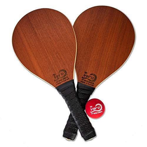 Vero Frescobol Mahogany Wood Beach Frescobol Paddle Set, Official Balls, Tote-Bag, USA