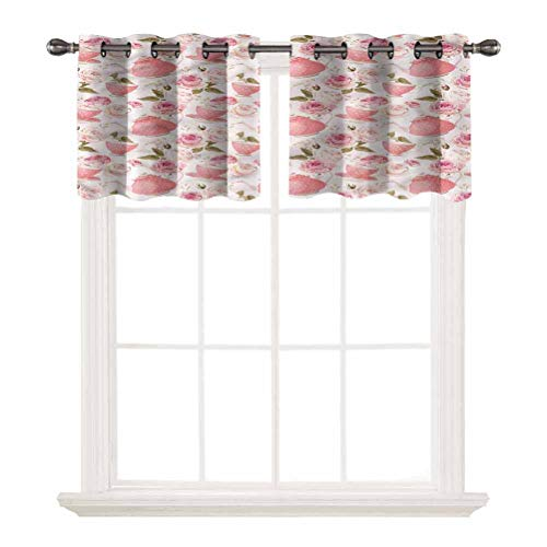 SoSung Short Straight Drape Valance,Floral,Vintage Tea Cups Roses,Grommet Top Blackout Curtain Valance Window Treatment for Living Room,W52 by L12,2 Panels