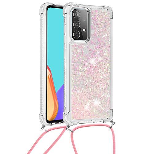 6City8Ni Girls Star Diamond Liquid per Samsung M51,Colorful Colore Bling Glitter Silicone Gel in Sottile Elastic TPU Rubber Flessibile Custodia Bumper Cover Anti-Scratch Lanyard Ring Holder