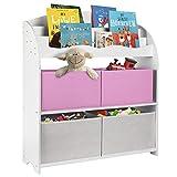 ONVAYA® Libreria per bambini, colore bianco, con scatole, per riporre libri e giocattoli, organizzatore per la cameretta dei bambini (libreria rosa)