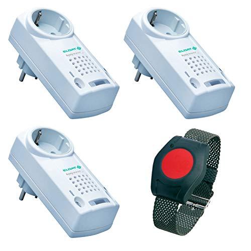 ELDAT Sicherheitspaket 7, Hausnotruf mit Funk-Notruf-Armband und 3 Empfängern ohne Quittierungs-Funktion