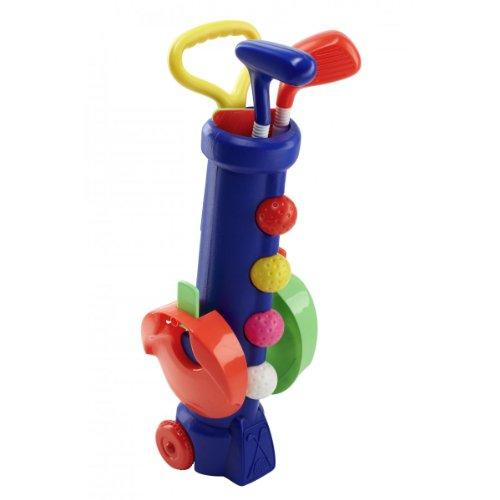 Silverline Mini-Golf-Set für Kinder ab 3 Jahren - Trolley-Bag + Schläger + Bälle + Löcher mit Fähnchen (Blaues Bag)