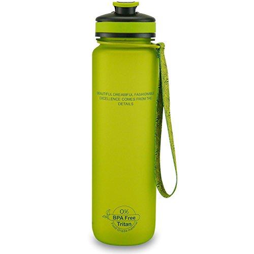 SMARDY Trinkflasche BPA-Frei, Auslaufsichere Wasserflasche, Sportflasche aus Tritan 1L, Grün, Leicht und Nachhaltig