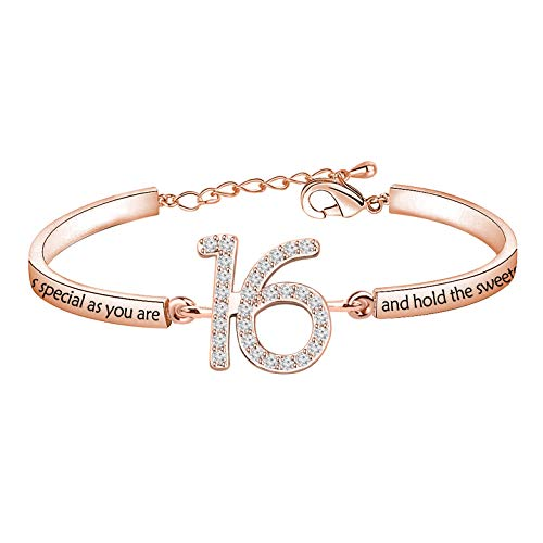 TIIMG Birthday Gift Sweet 16 Gift 13th Birthday Gift Turing 18 Gift Birthday Jewelry Gift for 13th 16th 18th Years Old Birthday Girls Boys (16th bracelet RG)