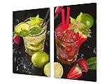 Tabla de cocina de vidrio templado - Tabla de cortar de cristal resistente – Cubre Vitro Decorativo – UNA PIEZA (60 x 52 cm) o DOS PIEZAS (30 x 52 cm); D07 Frutas y verduras: Frutas 20