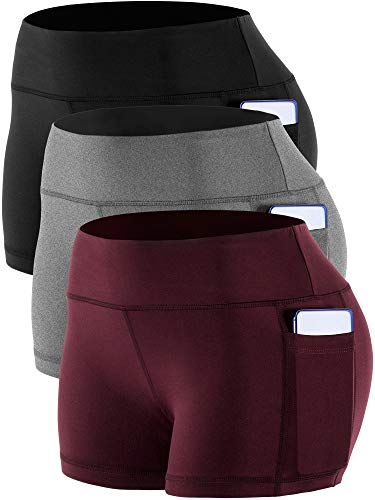 Cadmus Women's Workout Yoga Running Compression Exercise Booty Shorts with Two Side Pockets,3 Pack,09,Black,Grey,Wine Red,Medium