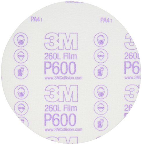 3M Hookit Finishing Film Abrasive Disc 260L, 00971, 6 in, P600, 100 discs per carton, 4 cartons per case