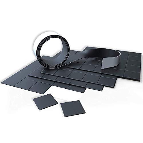 CTEF MAGNETSET | 100 Magnetplättchen 20x20mm + 1m Magnetband | 2 in 1| selbstklebend | zuschneidbar | schwarz | flach | Magnetstreifen | Magnetklebeband
