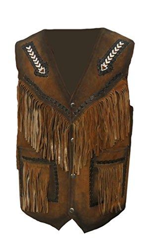 Classyak Herren Western Leder Weste mit Fransen & Pfeil Design Gr. Large, Braun, Wildleder