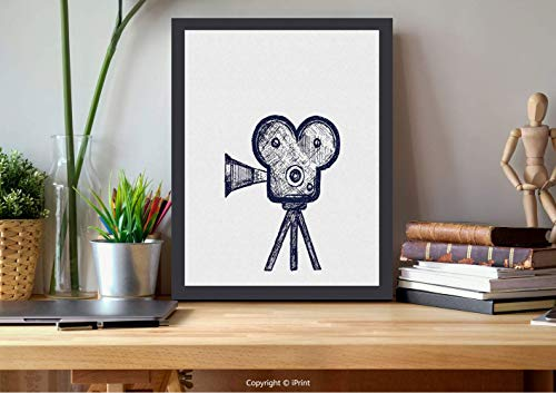 AmorFash №11654 Wooden Framed Wall Art,Theater, Hand Drawn Sketch of A Video Projector in Blue Tones Cinema, Violet Blue Grey, Best for Gifts