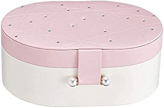 GPWDSN Sieradendoos Organizer, 2-laags PU lederen sieraden opbergkoffer met slot voor meisjes vrouwen, fluwelen linnen (roze)