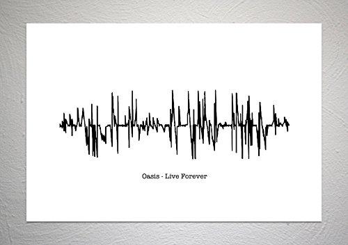 Oasis – Live Forever – Sound Wave Song Kunstdruck – A4 Größe
